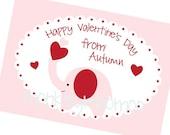 Printable Valentine Elephant Boy or Girl 3.5inx5in Cards