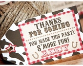 Dream721 Custom Listing Western Party Brown/White Cowhide Smore Favor Tags