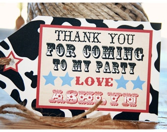 Printable Rootin Tootin Western Favor Tags Black Cowhide