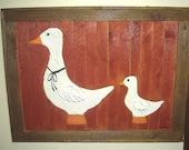 Antique ducks wood picture
