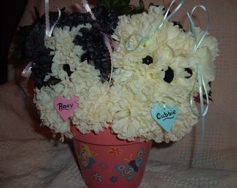 Roxy and Cubby custom order Puppy Bouquet