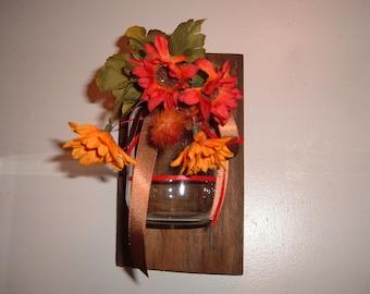 Ball Jar Mason Jar Sconce with Flowers on Barn Wood
