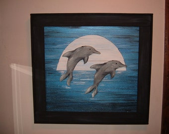Dolphins in Moonlight wood painting