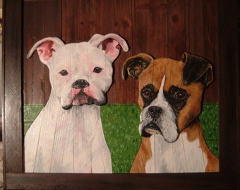 Custom Pet Portrait Boxer Dogs An OOAK 2D Wood Picture