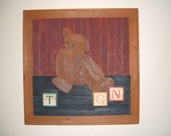 Bear with blocks wood picture