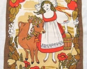 Vintage Linen Towel Milkmaid and Cow