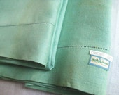 Reserved for D Vintage Green Irish LINEN Pillowcases Pair