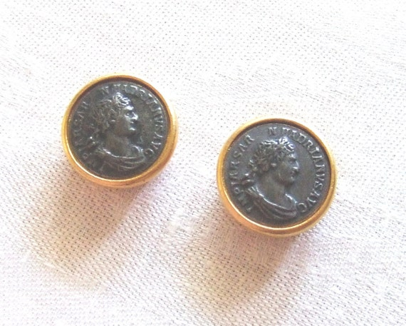 2 Gold Button Covers with Faux Coins