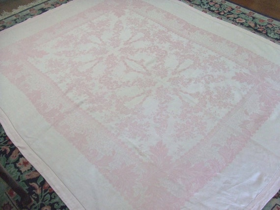 Pink Damask Linen Tablecloth 72x88