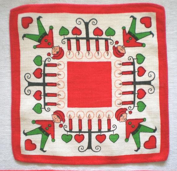 Swedish Christmas Linen Table Mat Doily