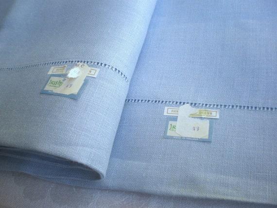 Vintage Blue Irish LINEN Pillowcases