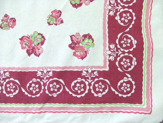 Vintage Linen Kitchen Tablecloth Maroon and Pink