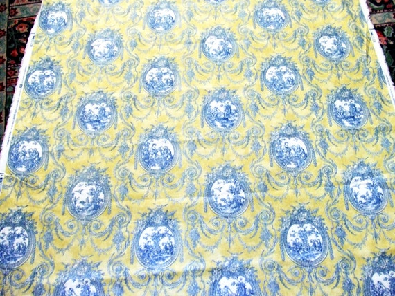 3 Yards Waverly Blue And Yellow Toile