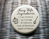 Navy Wife Ingredients - Illustrated Pinback Button