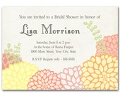 Luscious pink, orange and yellow flowers, invitation for bridal or baby shower, wedding event, printed or digital