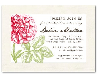 Bridal shower invitation, vintage flowers, red, pink, yellow, orange, baby shower invite, printable digital DIY