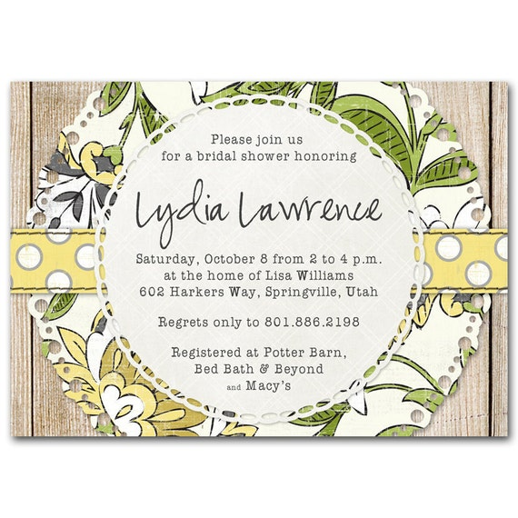 Bridal shower invitation, baby shower invite, rustic woodland floral, birthday party, printable digital DIY