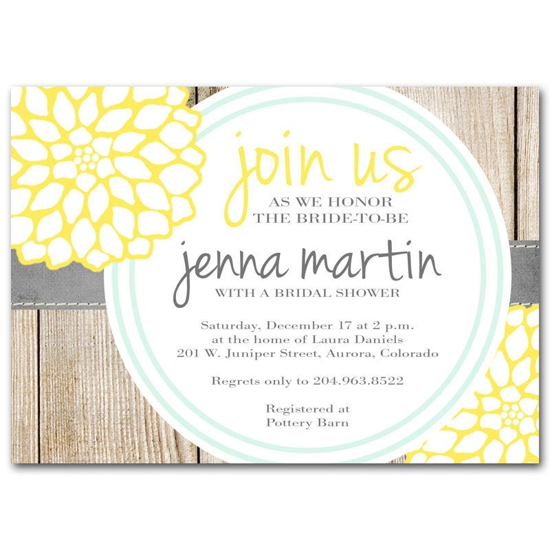 Bridal shower invitation yellow and milk bottle blue by for Yellow bridal shower invitations