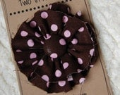 Messy Flower Hair Clip-Pink and Brown Polka Dots