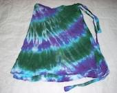 Rayon Wrap-Around Skirt Tie-Dye - Deep Purple, Emerald Green, and Turquoise Blue
