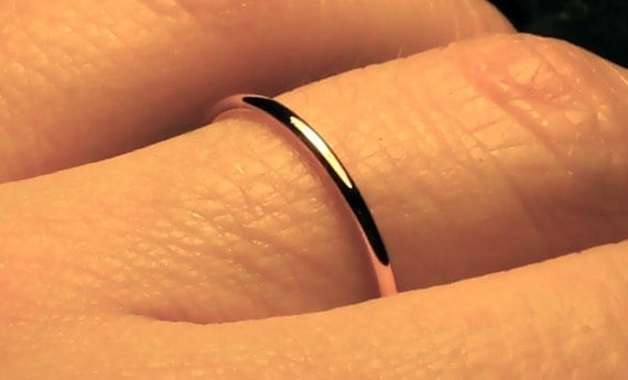 Thin gold Wedding ring/ solid 14k YELLOW gold ring/ handmade wedding band/ fully round band/ full round halo ring/ plain & simple/ spacer