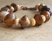 reserved for rubyrabbit13 - bracelet - tiger fur agate, cream picasso beads - tiger by the tail