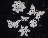 6pc BLACK WHITE POLKA dot Butterflies and Flowers Pack Eco-Friendly Mulberry Paper