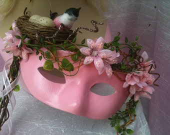 Mother Nature, Bird in Nest, Forrest Nymph, Forest Nymph, Woodland Masquerade Mask
