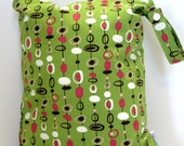 SALE- Regular Tall Wet Bag (12x15), w\/ SNAP STRAP-in Mingle (Lime, Hot Pink, Brown)