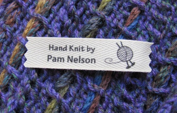 Personalized knitting labels ball of yarn with needles for Hand knit labels