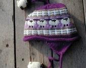 Acrylic Purple Kid's Sheep  Ear Flap Hat