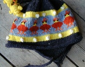 Adult Hens and Chicks Earflap Hat