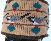 Caramel Chickadee Winter Pillbox Hat