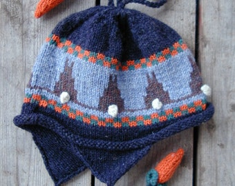 Adult Blue Ear Flap Hat -  Bunny and Carrot