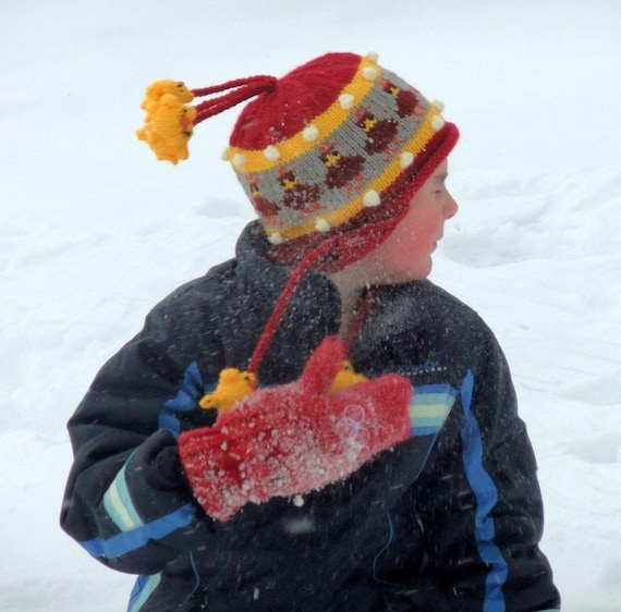 Children's Red Ear Flap Hat  - Hens and Chicks