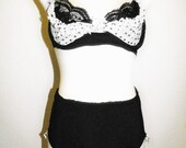 vintage inspired beautiful balconette two piece black and with polka dots