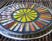 "Stained Glass Mosaic Trivet Candle Plate Coaster Suncatcher ""Amber and Gold"""