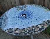 """Custom Handmade Stained Glass Mosaic Table Top """"The View at Turtleback Mountain"""""""