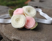 Baby girl headband barrette hairband felt flowers