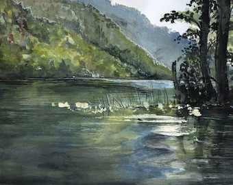 Echo Lake, Watercolor Landscape Painting British Columbia - Digital Photo Print