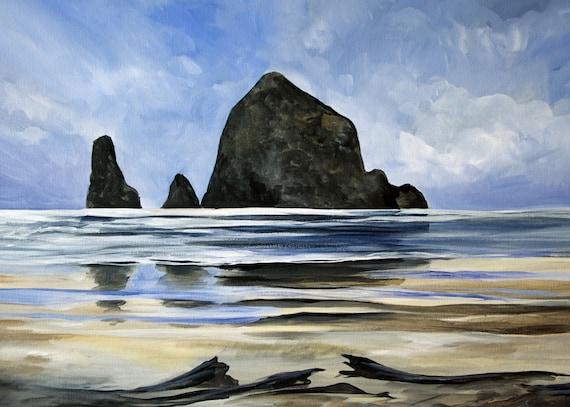 Cannon Beach Haystack Rock Landscape Painting, Digital Photo Print