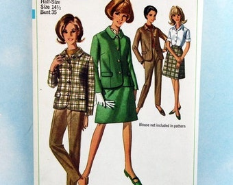 "Vintage 1960s,  Sewing Pattern, Simplicity 7220, Jacket, Skirt and Pants, Half-Size 14 1/2, Bust 35"", UNCUT"