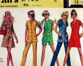"Vintage 1970s, Sewing Pattern,  McCall's 2415, Dress and Bolero, Top,  Pants and Shorts,  Misses' Size 12, Bust 34""."
