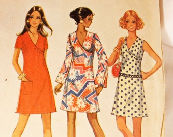Vintage 1960s, Sewing Pattern,McCall's 2239, Junior Size 7 Dress in Three Versions