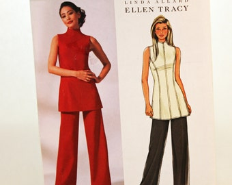 Butterick B4237, Sewing Pattern, Misses' Size 6, 8 and 10, Ellen Tracy Tunic and Pants, UNCUT, International Shipping