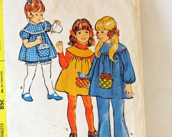 Vintage 1970s,  Sewing Pattern, McCall's 3070, Toddler's Size 1, Dress and Pants,  International Shipping