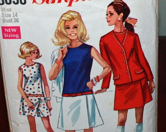 Vintage 1960s, Sewing Pattern, Simplicity 8098, Misses' Size 14, Culotte-Dress in Two Lengths and Unlined Jacket