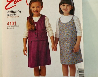 McCall's Stitch'n Save 4131, Sewing Pattern, Girls'  Jumper and Unlined Vest,  Size 7-8-10-12. UNCUT, FF, International Shipping