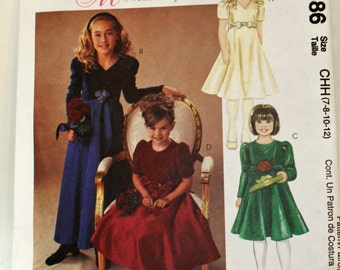 McCall's 3886. Sewing Pattern, Girl's Lined Dresses in Two Lengths, Size 7, 8, 10 and 12, UNCUT, FF
