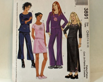 McCall's 3891, Sewing Pattern, Girl's Skirt, Tops and Pants in Two Lengths, Size 7, 8, 10 and 12, UNCUT